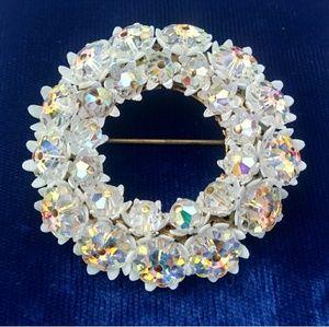 '60s VINTAGE AB Crystal Flower Wreath Brooch Pin